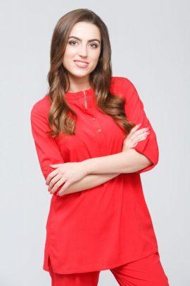 Красная штапельная блуза